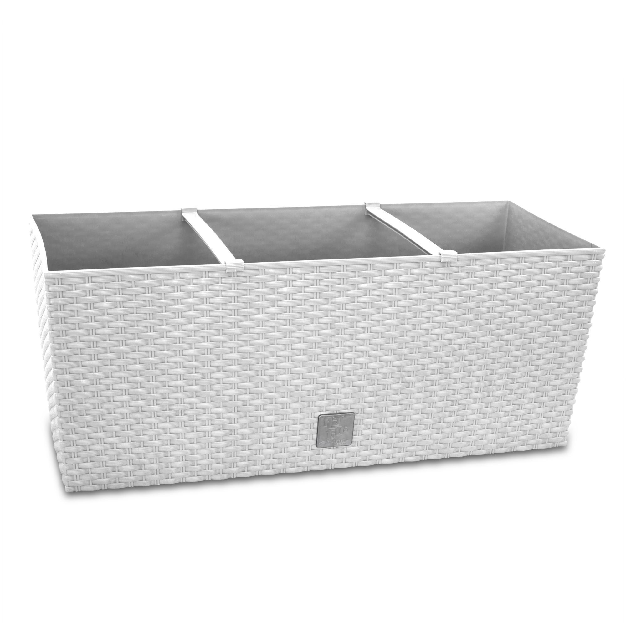 blumenkasten balkonkasten pflanzkasten rattan optik bew sserung 60 cm wei 4260416557277 ebay. Black Bedroom Furniture Sets. Home Design Ideas