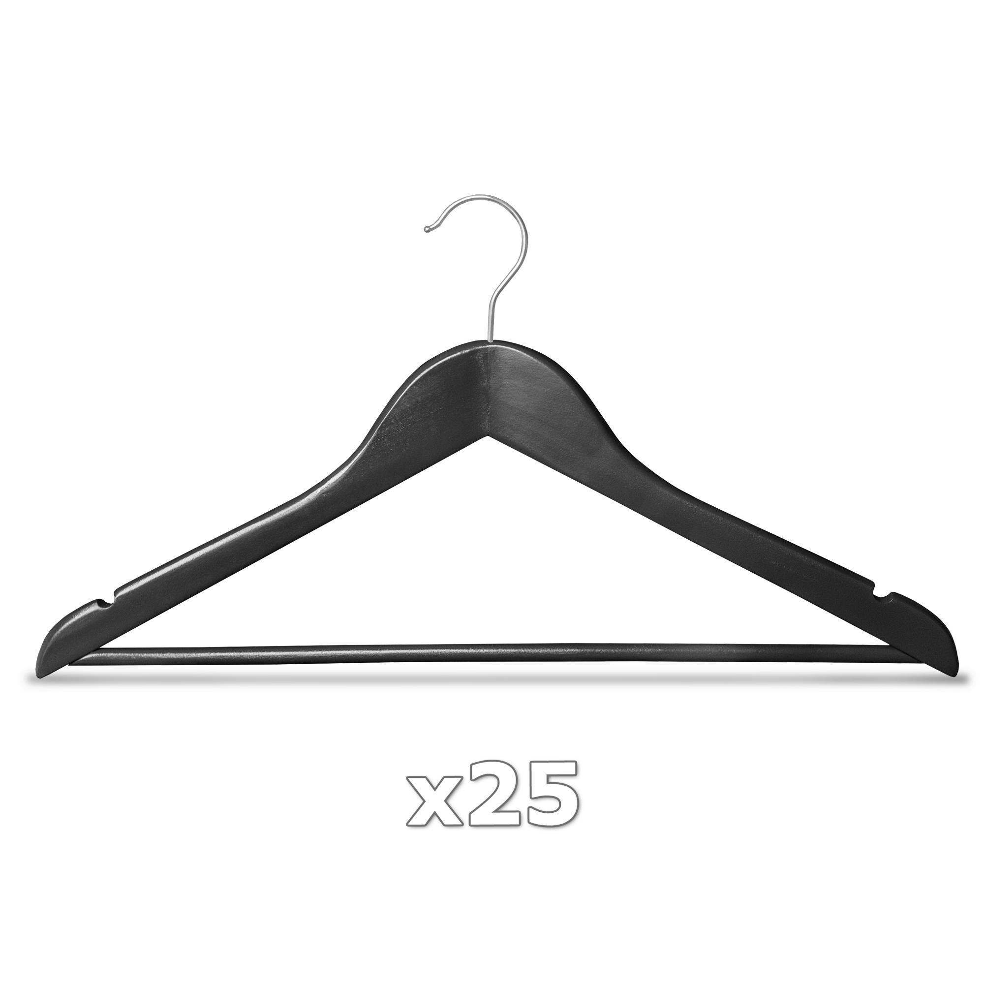 25 st ck kleiderb gel holz schwarz holzb gel mit hosenstange garderobenb gel ebay. Black Bedroom Furniture Sets. Home Design Ideas