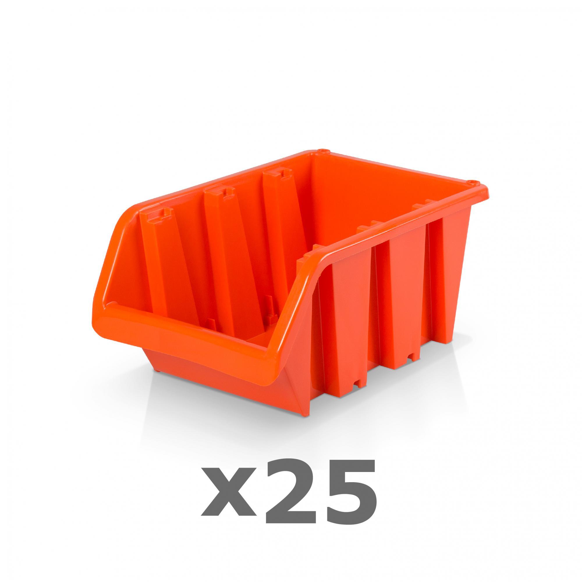 3 Stapelboxen Schraubenbox Lagerbox rot Sichtlagerboxen Gr