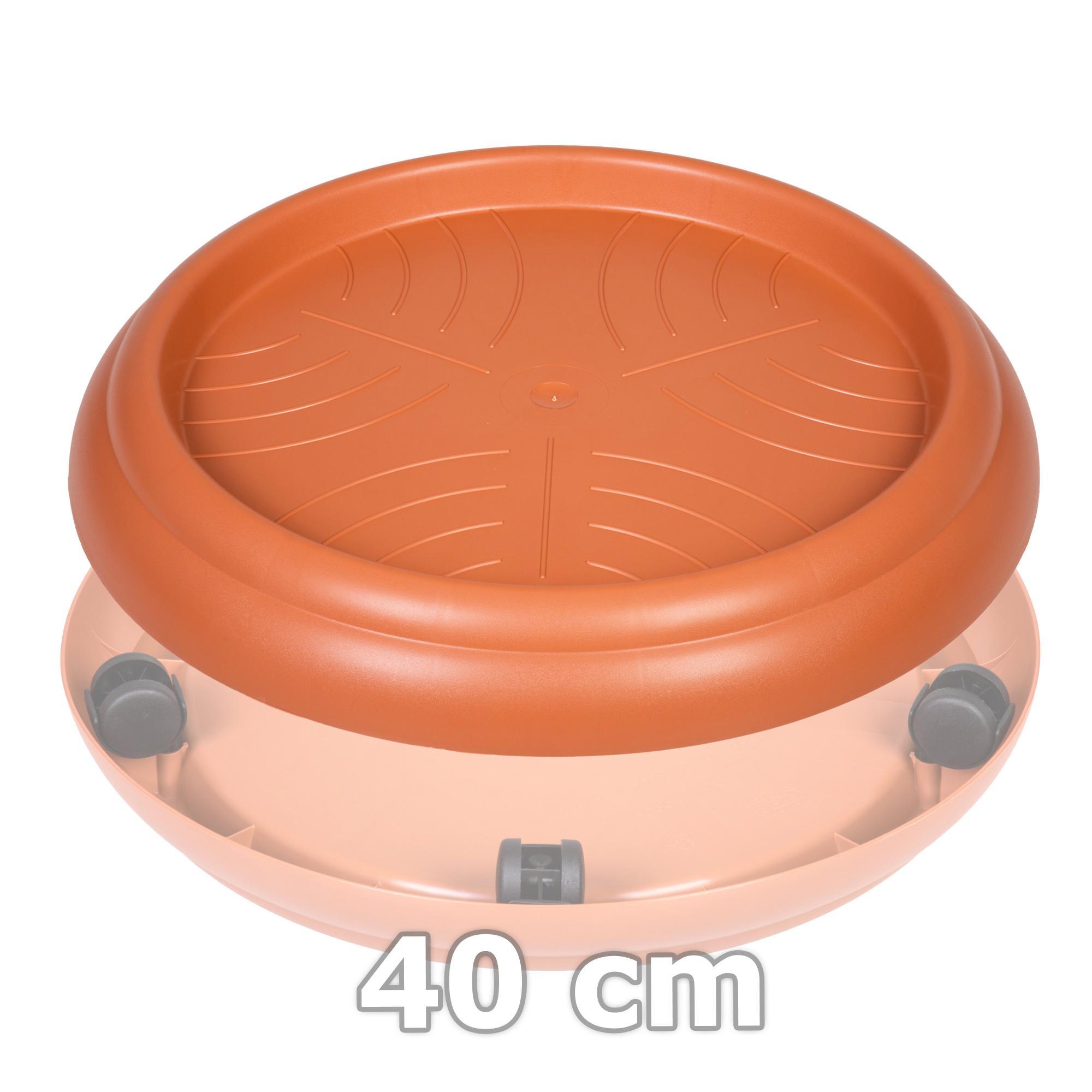untersetzer 29/40 cm terracotta mit rollen rollenuntersetzer